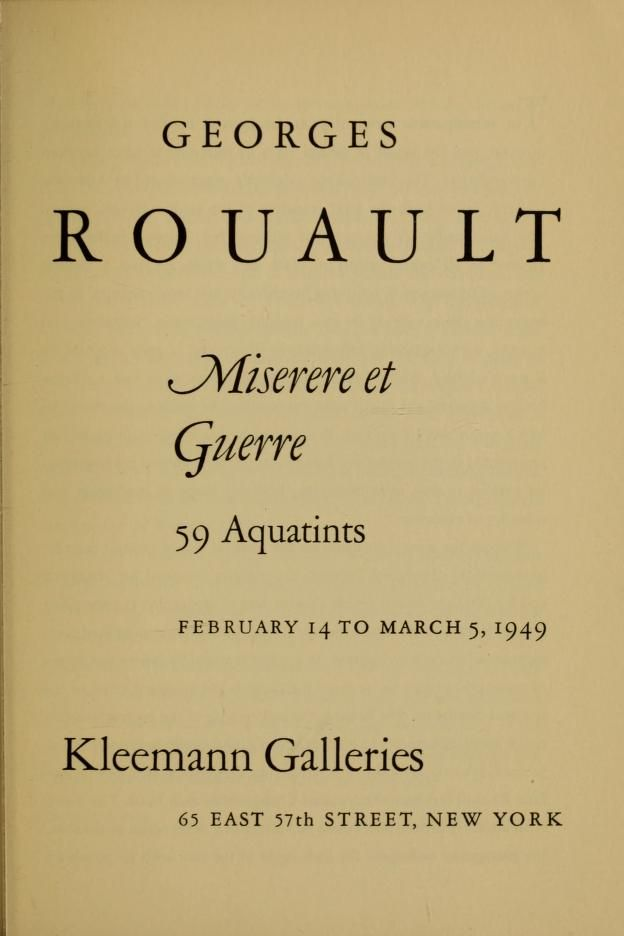 Georges Rouault, miserere et guerre