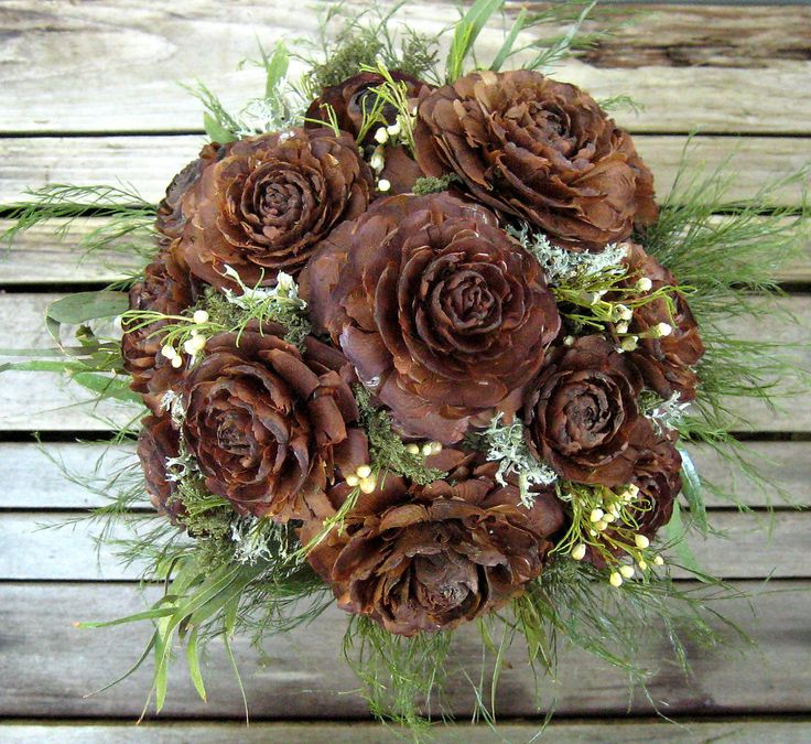 Woodland Wedding Bouquet  - Dried Wedding Bouquet - Cedar Rose & Lichen. $58.88, via Etsy.