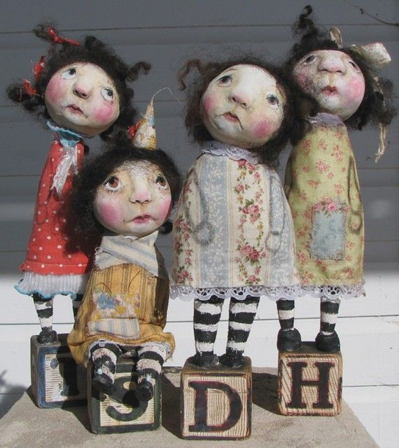 custom design for you folk art paper clay doll by kdmilsteinstudio, $125.00