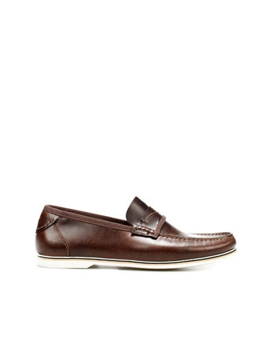 LEATHER MOCCASIN - Shoes - Man - ZARA