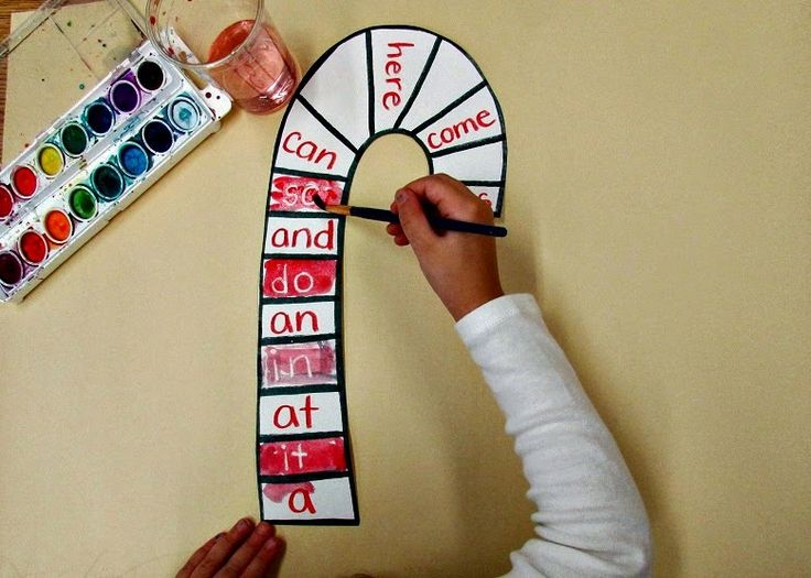 Watercolor & Crayon resist sight words on a candy cane! #Kindergarten