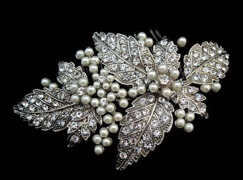 Lovely vintage style headpiece with clear stones and pearls from Brides Unlimited