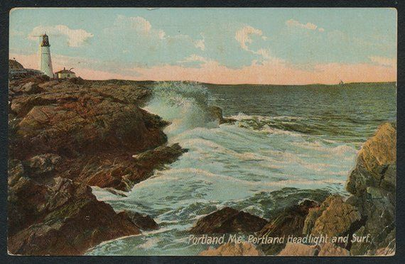 Portland Maine Postcard Vintage 1914 Colorized Post Card Of Etsy Maine Postcard Vintage Postcards Postcard