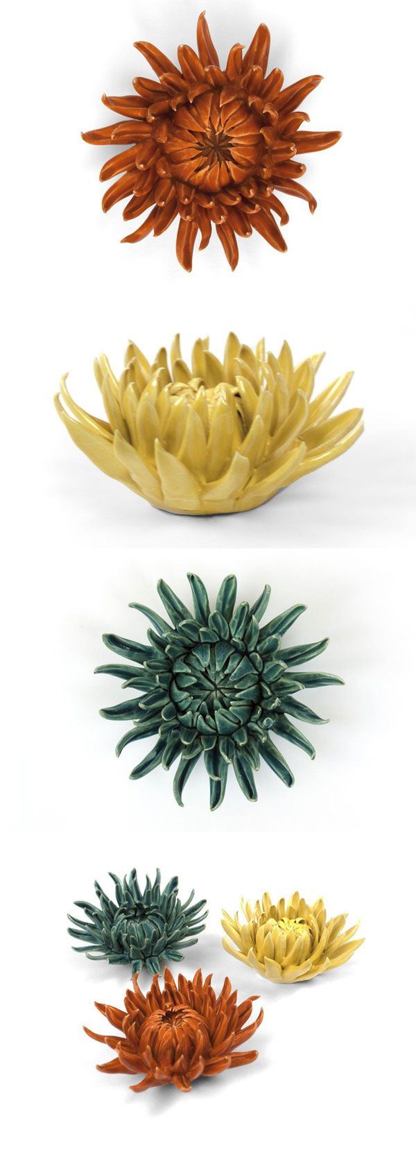 These ceramic mums bring a fresh feeling of liveliness and growth to the indoors—no watering required! Each floral piece in this collection of flowers, succulents, and coral is painstakingly handmade. As a result, each and everyone one is unique, just like a real flower blooming in nature.
