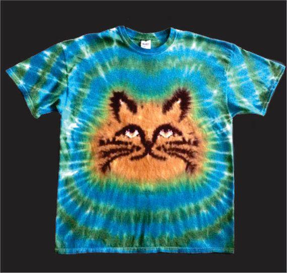 Cat Tie Dye Shirt Tye Die FREE SHIPPING Grumpy or Happy Kitty you choose!