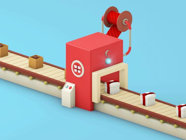 Gift Machine on Behance ; Packing  Gif Animation