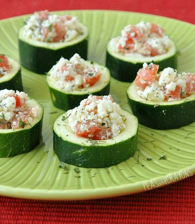Fun + Feisty Zucchini Cups:  1 medium zucchini  4 Tbsp crumbled feta  1/2 of a ripe roma tomato  lemon juice and zest  1/2 tsp olive oil  1/2 tsp vinegar.  season with: salt, pepper, garlic powder, dried minced onion or onion powder, parsley, dill