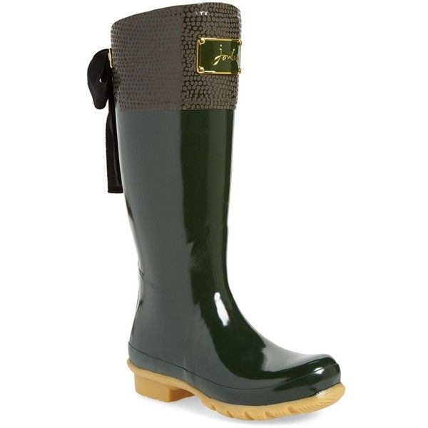 Women's Joules 'Evedon' Rain Boot ($144) ❤ liked on Polyvore featuring shoes, boots, knee-high boots, olive, equestrian boots, joules boots, olive green boots, knee high riding boots and rain boots