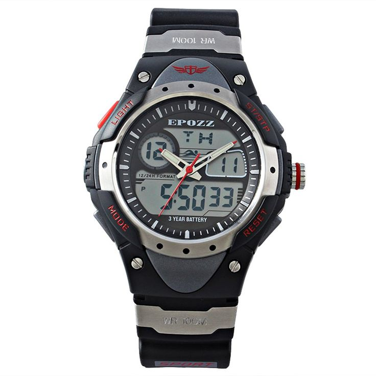 EPOZZ Dual Display Digital Outdoor Sports Waterproof Watch black -- Click image to review more details.