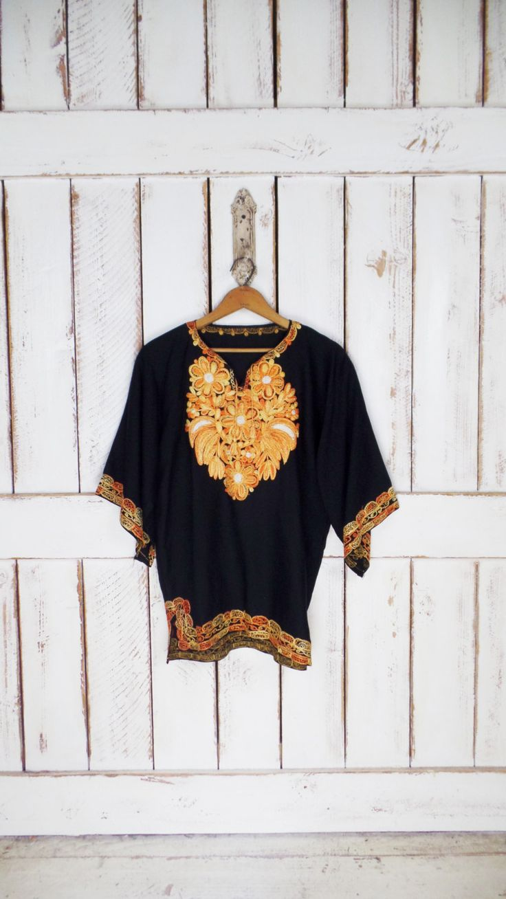 Vintage black/yellow floral embroidered dashiki top/boho hippie festival blouse by GreenCanyonTradingCo on Etsy