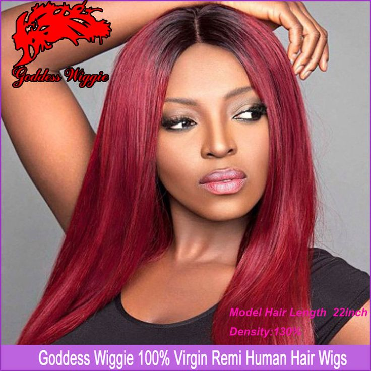 Find More Wigs Information about Red Ombre Human Hair Wigs