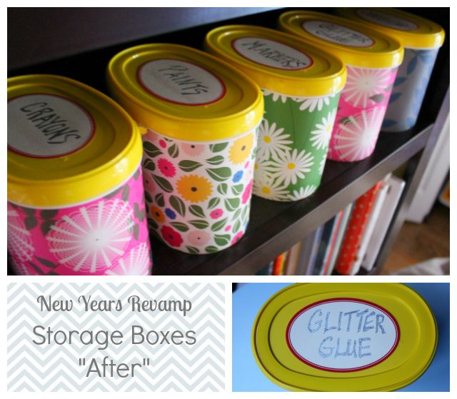 Design Improvised: Decorative Storage Boxes-make from baby formula containers, old freezer containers, etc.