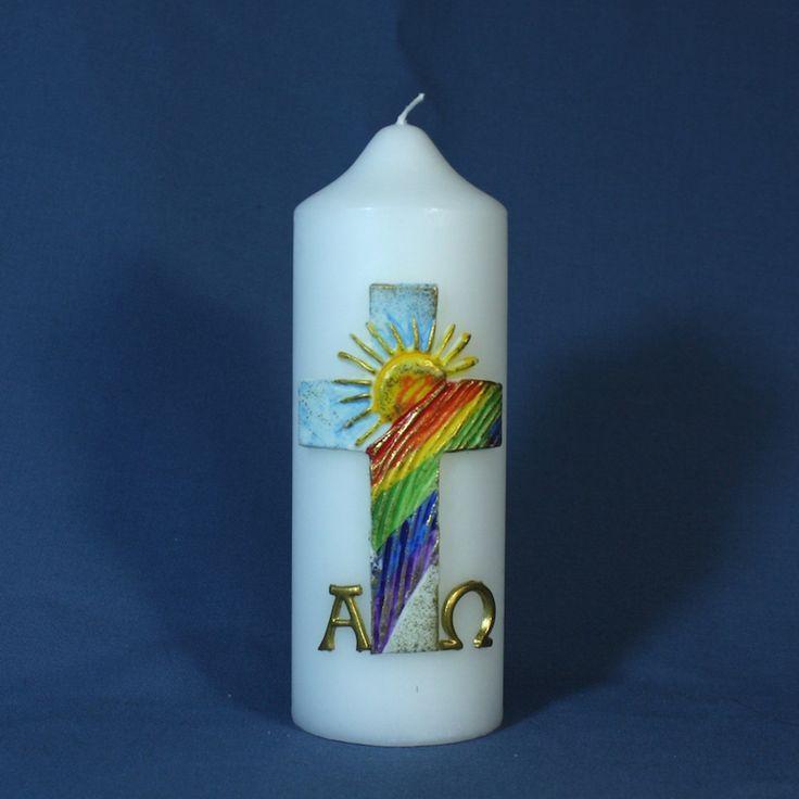Kirchliche Osterkerze Nr.107 - Kreuz mit Sonne und Regenbogen, bunt/ gold bemalt und Alpha/ Omega