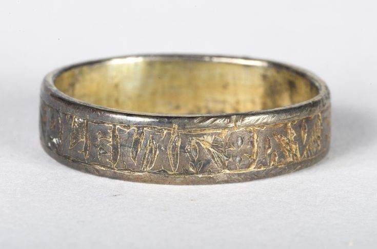 A late 13th or early 14th century silver-gilt posy ring inscribed in Lombardic characters with the words ''AVE MARIA GRACIA PLENA' which means 'Hail Mary full of grace' found in the Lache area of Chester, England