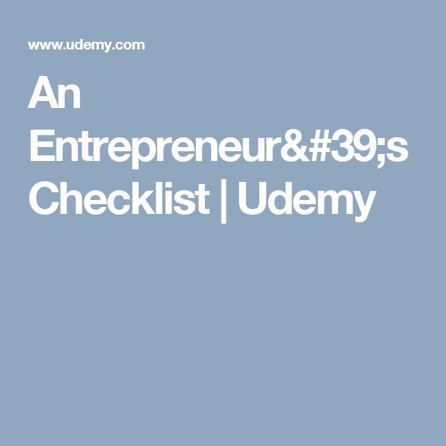 An Entrepreneur's Checklist | Udemy