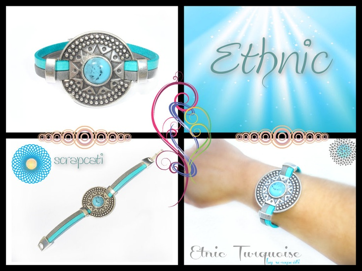 Ethnic Bracelet Collection  Turquoise Stone, Silver Plated Metals, Genuine Soft Leather by scrapcati www.scrapcati.etsy.com