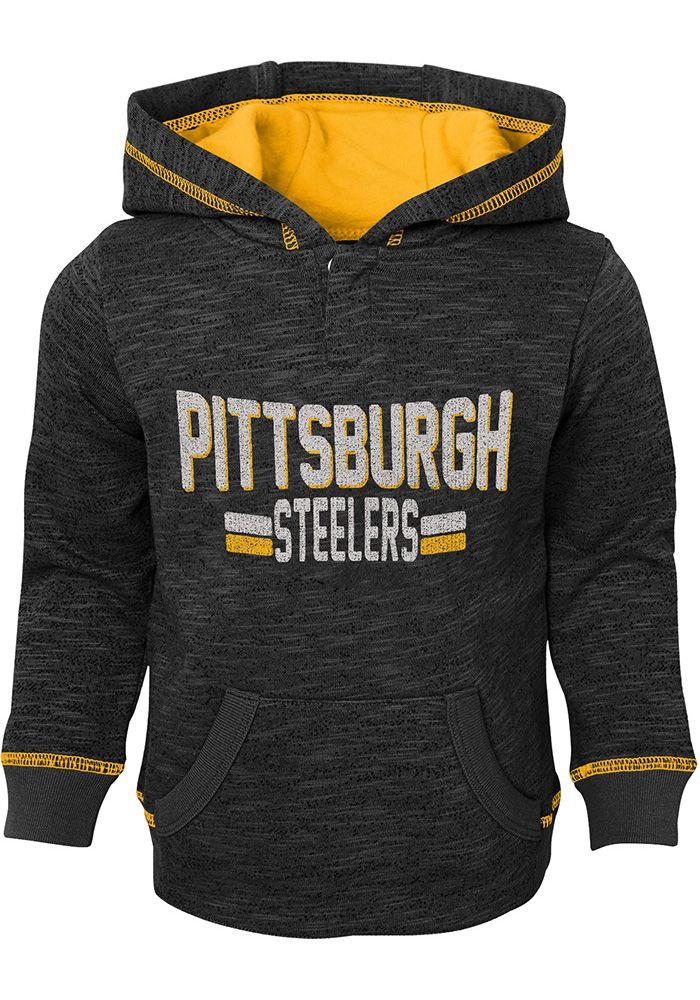 11df8bda Pittsburgh Steelers Toddler Black Tiny Lineman Long Sleeve Hooded Sweatshirt  - Image 1