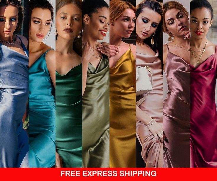 Silk slip dress midi bias cut Silk bridesmaid dress Lavander green silk satin dress Party dress Date dress  bridesmaid style prom silk long