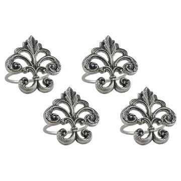 Silver Fleur De Lis Napkin Ring (Set Of 4) - Design Imports