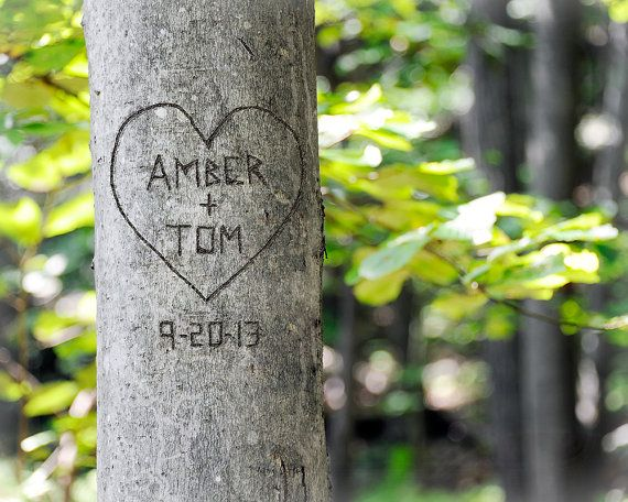 Personalized Tree Carving Couple Art- You Choose Names Carved in Tree- Unique Engagement, Anniversary, Wedding Gift