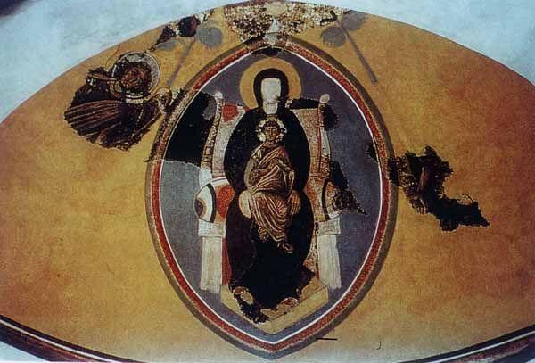 Chiesa di Panaghia Kanakaria, Cipro. Il mosaici del VI secolo, il periodo giustineaneo. Madonna col bambino e gli arcangeli