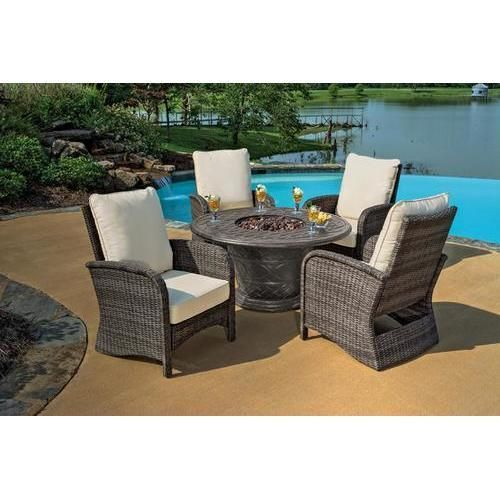 5-Piece Portico Wicker Patio Chair and Cast Aluminum Gas Fire Pit Outdoor Furniture Set - Beige Cushions