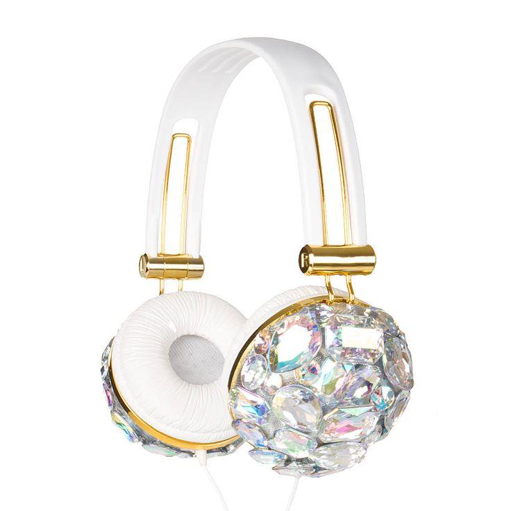Iridescent Crystal Bling Headphones