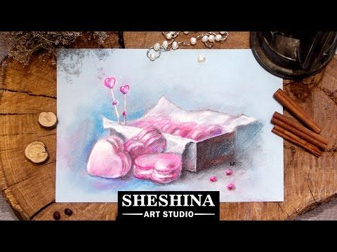 How to draw a heart macarons for Valentine's Day with soft pastels 🎨 Sheshina Ekaterina