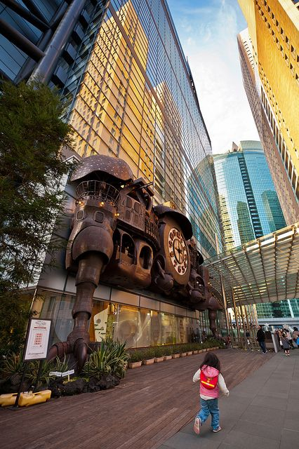 Shiodome Clock in downtown Tokyo, Japan .