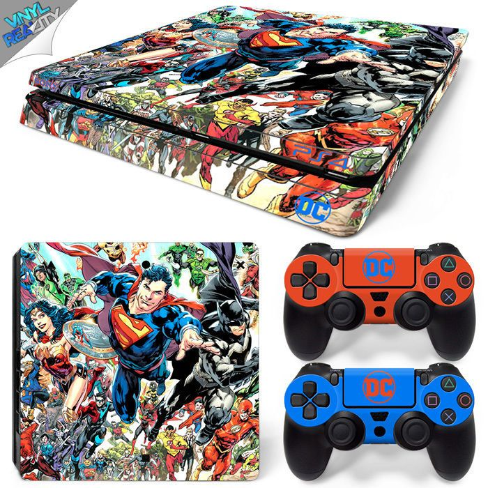 DC UNIVERSE PS4 SLIM Playstation 4 Wrap Skin Sticker BATMAN SUPERMAN WONDER WOMA