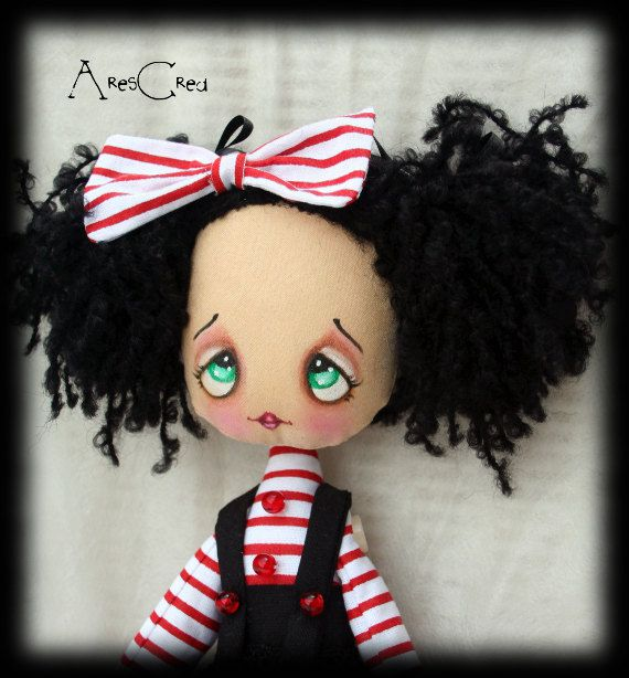Burlesque cloth doll Philomena, cute mime rag doll with bunny and stripes. Cute rag doll in red, white and black. Fantasy doll