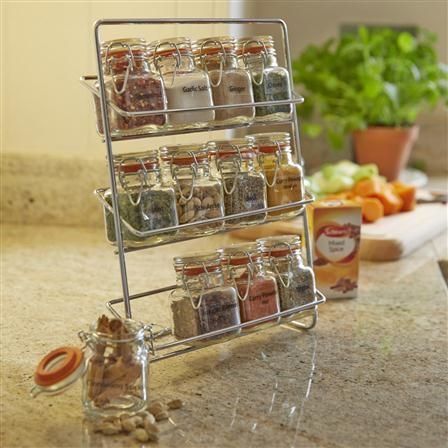 Hahn Pisa Spice Rack With 70ml 12 Kilner Jars, Chrome