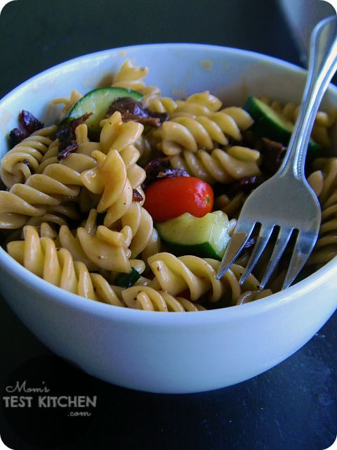 Peppered Bacon & Sweet Balsamic Pasta Salad from  Mom's Test Kitchen