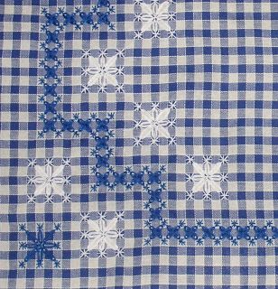 Blue and white gingham borders - snowflake