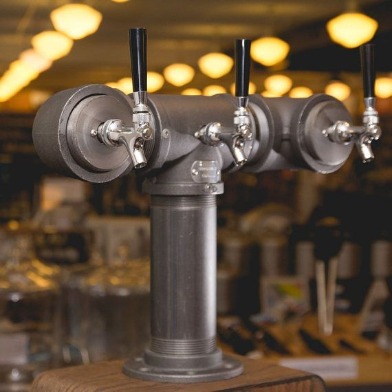 3 Tap Beer Tower Black Iron Pipe by TappedBeer on Etsy