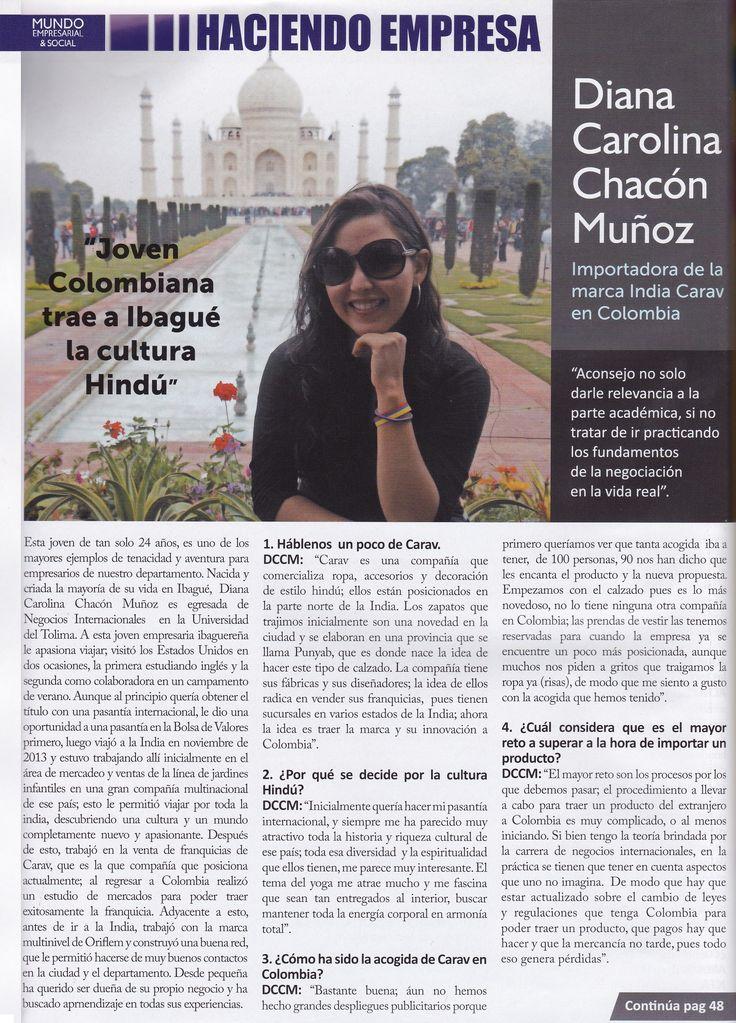 Nuestra Empresa en Medios Sociales de la región. La Revista Mundo Empresarial & Social destaca la labor de Diana Carolina, nuestra Representante en Colombia