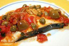 Pesce spada capperi, olive alla siciliana..
