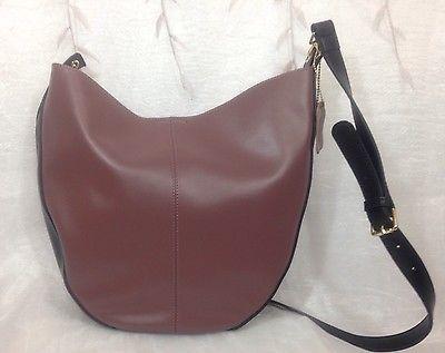 Italian Leather Bucket Cross Body Bag Purple With Black Trim Black Label By KGB