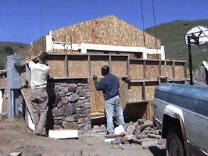 Slipform stone masonry stonework..