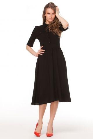 1387 Платье черное, рубашечный верх