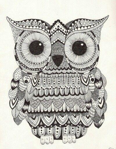 owl zentangle: