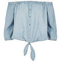 Light blue denim bardot top - bardot / cold shoulder tops - tops - women