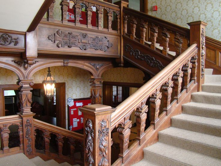Hand-carved staircase - historic Bettendorf Mansion, campus of Rivermont…