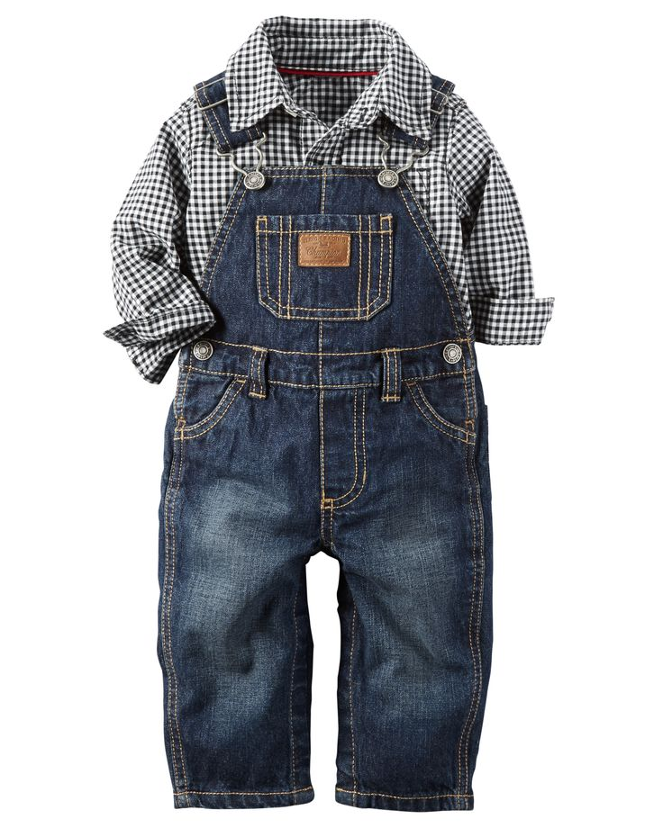 Complete with classic denim overalls and a plaid button-front, this 2-piece set is perfect for the pumpkin patch.