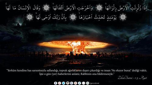 """""""Yerküre kendine has sarsıntısıyla sallandığı, toprak ağırlıklarını dışarı çıkardığı ve insan 'Ne oluyor buna!' dediği vakit; İşte o gün (yer) haberlerini anlatır, Rabbinin ona bildirmesiyle.""""  Zilzal Suresi - 1-5. Ayetler Arası  #zilzal, #deprem, #yeryüzü, #yerküre, #Allah, #peygamber, #kitap, #quran, #ayet, #resimliayet, #sarsıntı, #toprak, #insan, #Rab, #kıyamet, #doomsday, #lastday, #religion, #sur, #sonan, #yokoluş"""