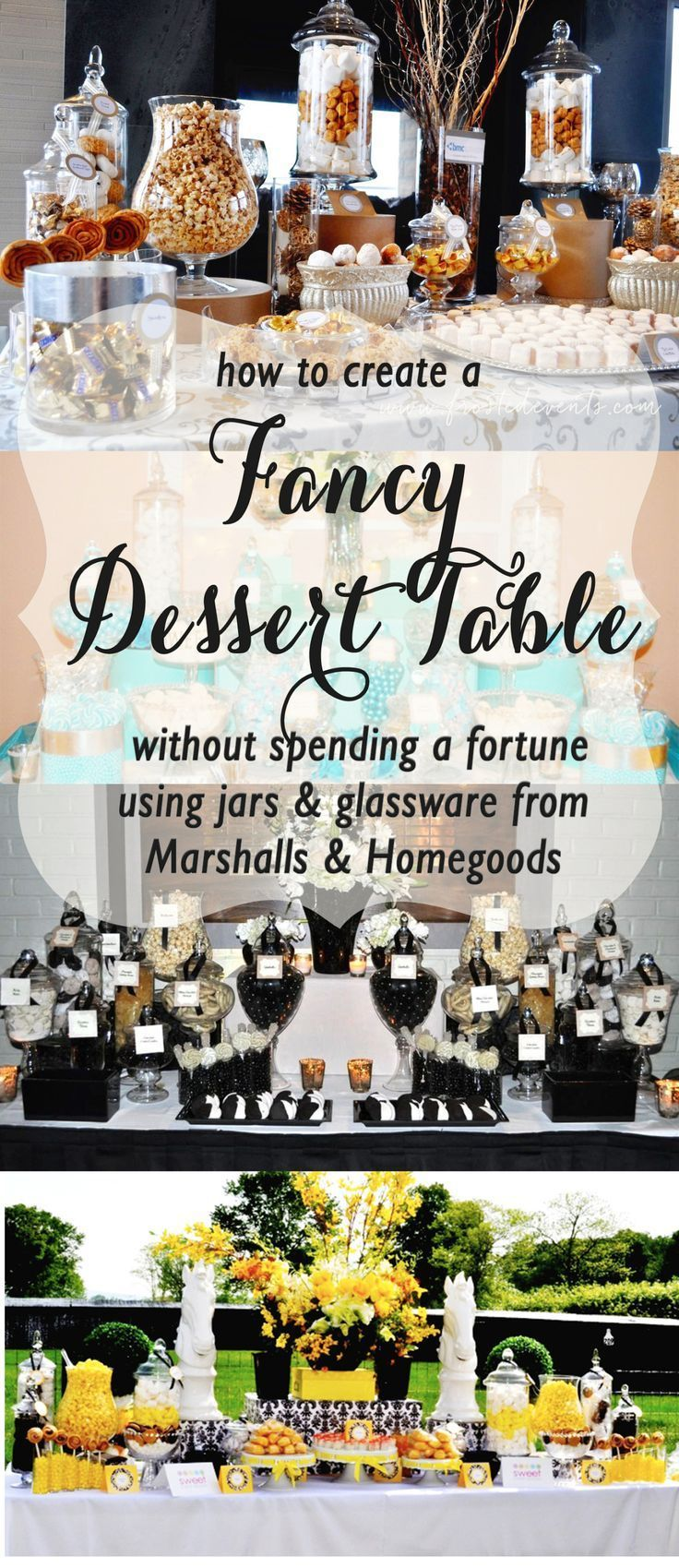 DIY Dessert Table For Wedding or Party|Design a Dessert Buffet that Wows via Frosted Events @frostedevents Tip: Get your apothecary jars, glassware and serving dishes from @marshalls and @homegoods ! They have a huge selection and the best deals