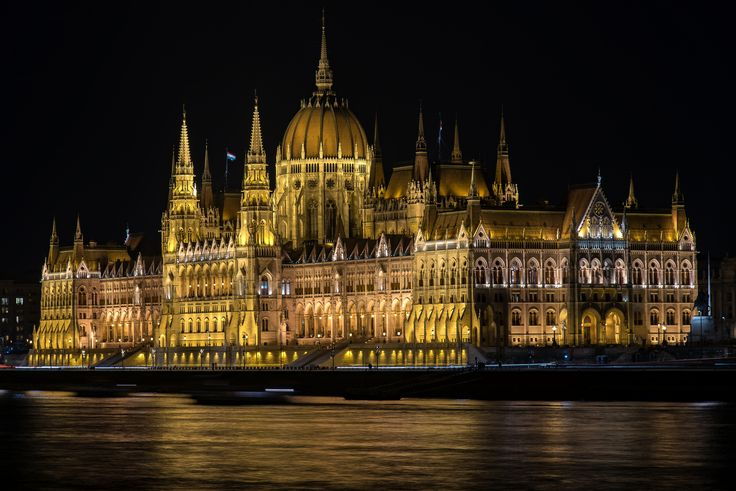 Hungary Budapest Houses Rivers Night Hungarian Parliament Cities