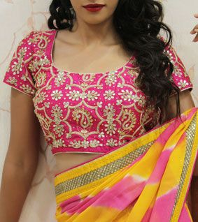 Pink Embroidered Raw Silk Blouse