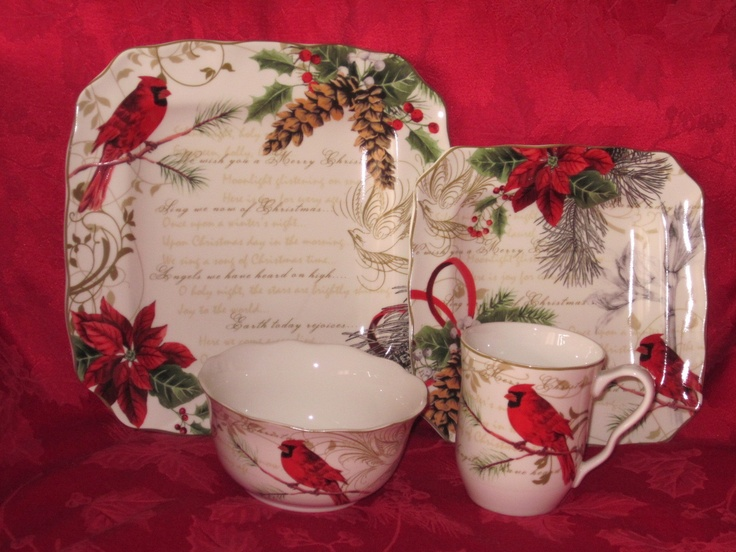 222 Fifth Holiday Wishes Poinsettia Red Cardinal 16 PC Dinnerware Set 4 8 New | eBay : winter dinnerware sets - Pezcame.Com