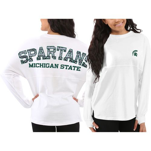 Michigan State Spartans Women's Aztec Sweeper Long Sleeve Oversized Top - White